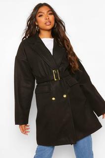 boohoo - Womens Tall Mantel In Wolloptik Mit Military-Detail Und Gürtel - Schwarz - 38, Schwarz