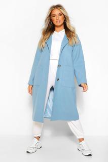 boohoo - Womens Longline Mantel In Wolloptik Mit Taschendetail - Blau - 34, Blau