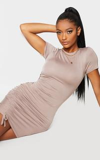 PrettyLittleThing - Shape Mocha Jersey Short Sleeve Ruched Bodycon Dress, Brown