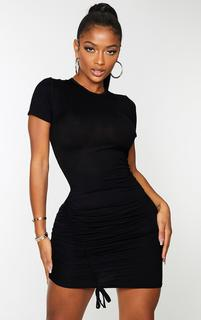 PrettyLittleThing - Shape Black Jersey Short Sleeve Ruched Bodycon Dress, Black