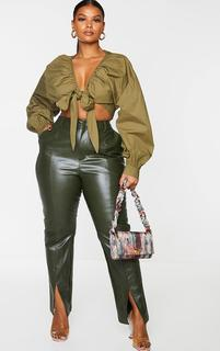 PrettyLittleThing - Plus Khaki Tie Front Ruched Blouse, Green