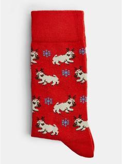 Topman - Mens Christmas Single Red Beagle Socks, Red