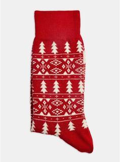 Topman - Mens Grey Christmas Red Sports Jacquard Socks, Grey