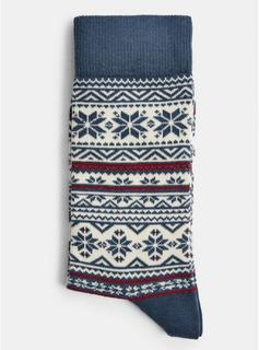 Topman - Mens Blue Christmas Navy Single Fair Isle Socks, Blue