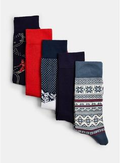 Topman - Mens Multi Christmas Alpine 5 Pack Socks, Multi