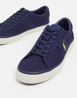 Polo Ralph Lauren - Sayer – Canvas-Sneaker in Marineblau mit goldfarbenem Logo-Navy