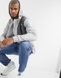 adidas Performance - adidas – Kapuzenjacke mit Drei-Streifen-Logo in Grau