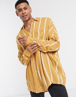 ASOS DESIGN - Übergroßes, gestreiftes Hemd aus Viskose im Stil der 90er in Knitter-Optik in Beige