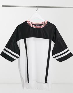 ASOS DESIGN - Übergroßes T-Shirt aus Netzstoff mit kontrastierenden Zierstreifen-Weiß