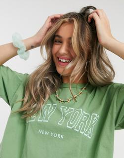 ASOS DESIGN - Oversize-T-Shirt mit New-York-Motiv-Grün