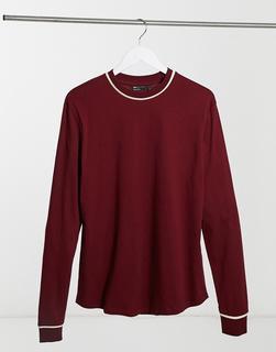 ASOS DESIGN - Elegantes, langärmliges T-Shirt in Burgunderrot mit Paspelierung-Mehrfarbig