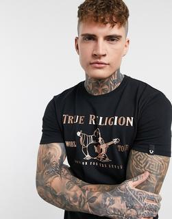 TRUE RELIGION - T-Shirt in Schwarz mit goldenem Logo auf der Vorderseite
