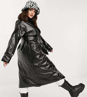 Daisy Street Plus - Lang geschnittener Mantel aus Vinyl mit Kunstpelzbesatz-Schwarz