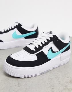Nike - Air Force 1 Shadow– Sneakerin Weiß, Schwarz und Türkis
