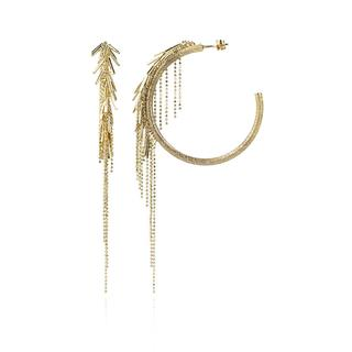 LOTT.gioielli - Ohrringe - CL Earring Vibes Brushed Creole Waterfall  Gold - in gelbgold - für Damen