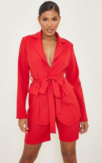 PrettyLittleThing - Red Woven Belted Waist Pocket Blazer, Red
