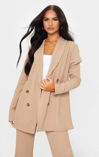 PrettyLittleThing - Camel Oversized Shoulder Pad Button Detail Blazer, Camel