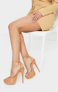 PrettyLittleThing - Tan PU Platform Strappy High Heel, Brown