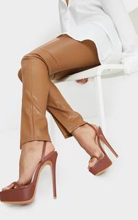 PrettyLittleThing - Chocolate PU Platform Strappy High Heels, Chocolate