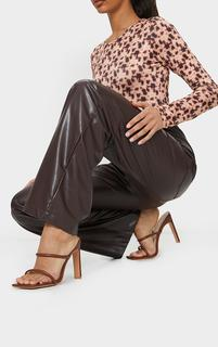 PrettyLittleThing - Chocolate PU Extreme Square Toe Twin Strap Mule High Heel, Chocolate