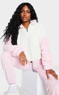 PrettyLittleThing - Cream Borg Contrast Sleeve Half Zip Toggle Sweatshirt, White