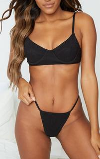 PrettyLittleThing - Black Ribbed Thong, Black