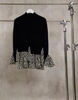 New Look - 2-in-1-Pullover mit schwarzem Zebra-Muster