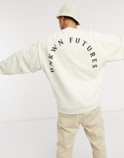 ASOS DESIGN - Oversize-Sweatshirt mit Schriftzug in Beige