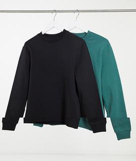 ASOS DESIGN - 2er-Packung Sweatshirts aus Biobaumwolle in Schwarz/Grün-Mehrfarbig