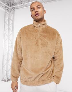 ASOS DESIGN - Hochgeschlossenes Oversize-Sweatshirt mit Kunstpelz und kurzem Reißverschluss in Tabakbraun
