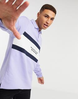 ASOS DESIGN - Oversize-Rugby-Sweatshirt in Flieder mit Farbblock-Design und gesticktem Text-Violett