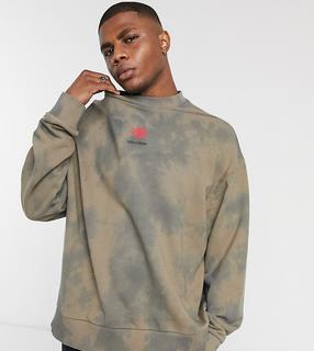 Collusion - Oversize-Sweatshirt mit platziertem Print und Batikmuster-Grau