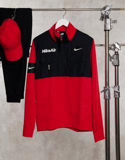 Nike - Air – Fleece-Pullover mit Reißverschluss in Rot-Schwarz