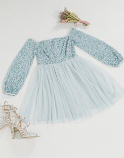 Maya - Bridesmaid – Schulterfreies, zartes, langärmliges Ballkleid aus Tüll mit Pailletten in Blau