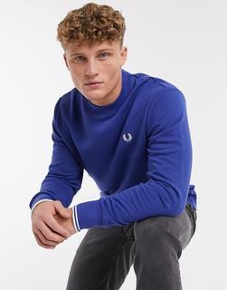 Fred Perry - Marineblaues Sweatshirt mit Rundhalsausschnitt