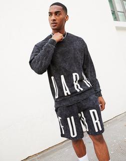 ASOS Dark Future - ASOS – Dark Future – Oversize-Sweatshirt in verwaschenem Schwarz, Kombiteil