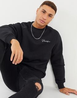 River Island - Sweatshirt mit Raglanärmeln in Schwarz