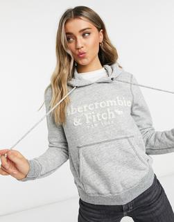 Abercrombie & Fitch - Kapuzenpullover mit klassischem Logo in Grau