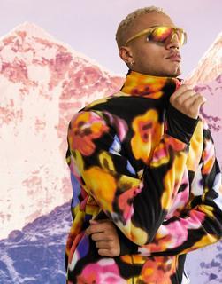 ASOS 4505 - Skipullover aus Fleece mit Blumenprint-Mehrfarbig