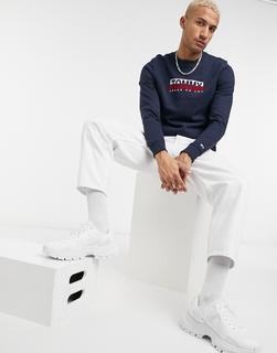 Tommy Jeans - Marineblaues Sweatshirt mit Rundhalsausschnitt und quadratischem Logo-Navy