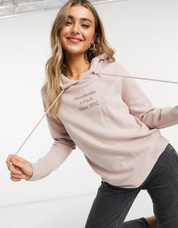 Abercrombie & Fitch - Kapuzenpullover mit Logo vorn in Rosa