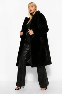 boohoo - Womens Kuscheliger Mantel Mit Teddy-Kunstpelzbesatz - Schwarz - 36, Schwarz