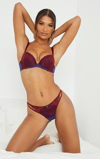 PrettyLittleThing - Wine Ann Summers Sexy Lace Plunge Bra, Red