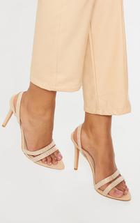 PrettyLittleThing - Nude Faux Suede Pointed Toe Sling Back High Heels, Pink