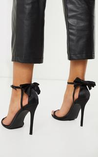 PrettyLittleThing - Black Satin Strappy Bow Back High Heels, Black