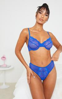 PrettyLittleThing - Cobalt Lace Front Panel Fishnet Thong, Blue