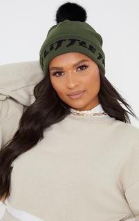 PrettyLittleThing - Khaki Slogan Pom Pom Beanie, Green