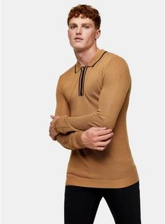 Topman - Mens Brown Camel Tipped Polo Knitted Jumper, Brown