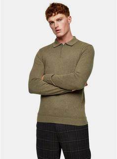 Topman - Mens Brown Considered Olive Zip Polo Knitted Jumper, Brown