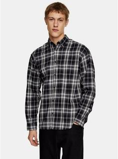 Jack & Jones - Mens Black Jack & Jones Navy And White Long Sleeve Shirt, Black